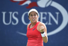 August 31, 2015 -Irina Falconi Reacts to a point against Samantha Crawford (not pictured) in a women's singles first round match during the 2015 US Open at the USTA Billie Jean King National Tennis Center in Flushing, NY. (USTA/Steven Ryan)