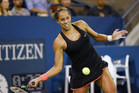 September 4, 2015 - Madison Keys in action against Agnieszka Radwanska (not pictured) in a women's singles third-round match during the 2015 US Open at the USTA Billie Jean King National Tennis Center in Flushing, NY. (USTA/Brian Friedman)