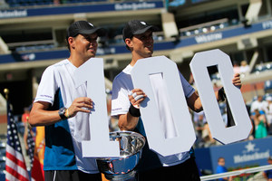 It was a great day for Americans inside Arthur Ashe Stadium, as Bob and Mike Bryan celebrated their 100th career ATP men's doubles victory, 6-3, 6-4, over the Spanish pairing of Marc Lopez and Marcel Granollers.