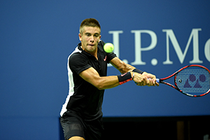 August 31, 2015 - Borna Coric in action in a Men's Singles - Round 1 match during the 2015 US Open at the USTA Billie Jean King National Tennis Center in Flushing, NY. (USTA/Pete Staples)