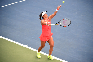 August 31, 2015 - Lauren Davis in action against Heather Watson (not pictured) in a Women's Singles - Round 1 match during the 2015 US Open at the USTA Billie Jean King National Tennis Center in Flushing, NY. (USTA/Andrew Ong)