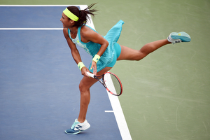 August 31, 2015 - Heather Watson in action against Lauren Davis (not pictured) in a Women's Singles - Round 1 match during the 2015 US Open at the USTA Billie Jean King National Tennis Center in Flushing, NY. (USTA/Andrew Ong)
