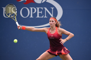 August 31, 2015 - Mariana Duque-Marino in action against Sofia Kenin (not pictured) in a Women's Singles - Round 1 match during the 2015 US Open at the USTA Billie Jean King National Tennis Center in Flushing, NY. (USTA/Andrew Ong)
