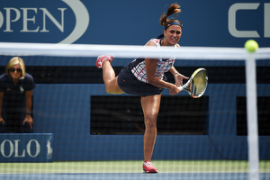 August 31, 2015 - Monica Puig in action against Venus Williams (not pictured) in a women's singles first round match during the 2015 US Open at the USTA Billie Jean King National Tennis Center in Flushing, NY. (USTA/Andrew Ong)