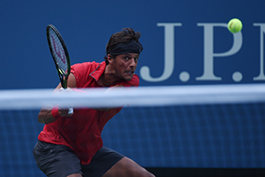 August 31, 2015 - Joao Souza in action in a men's singles first round match against Novak Djokovic during the 2015 US Open at the USTA Billie Jean King National Tennis Center in Flushing, NY. (USTA/Andrew Ong)