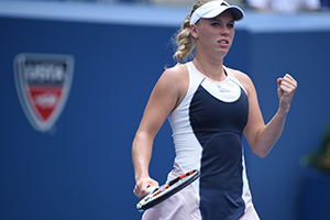 September 1, 2015 - Caroline Wozniacki in action against Jamie Loeb in a women's singles first round match during the 2015 US Open at the USTA Billie Jean King National Tennis Center in Flushing, NY. (USTA/Andrew Ong)