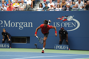 August 31, 2015 - Joao Souza in action against Novak Djokovic in a Men's Singles - Round 1 match during the 2015 US Open at the USTA Billie Jean King National Tennis Center in Flushing, NY. (USTA/Garrett Ellwood)