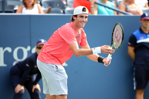 August 31, 2015 - Guido Pella in action against Marin Cilic (not pictured) in a men's singles first round match during the 2015 US Open at the USTA Billie Jean King National Tennis Center in Flushing, NY. (USTA/Ned Dishman)