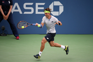 August 31, 2015 - David Ferrer in action against Radu Albot (not pictured) in a men's singles first round match during the 2015 US Open at the USTA Billie Jean King National Tennis Center in Flushing, NY. (USTA/Ned Dishman)