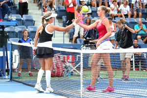 August 31, 2015 - Anna Tatishvili shakes hands with Karolina Pliskova after a women's singles first round match during the 2015 US Open at the USTA Billie Jean King National Tennis Center in Flushing, NY. (USTA/Ned Dishman)