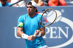 September 1, 2015 - Malek Jaziri in action in a men's singles match against John Isner during the 2015 US Open at the USTA Billie Jean King National Tennis Center in Flushing, NY. (USTA/Ned Dishman)