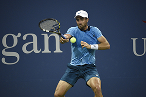 August 31, 2015 - Steve Johnson in action in a men's singles first round match against Fabio Fognini during the 2015 US Open at the USTA Billie Jean King National Tennis Center in Flushing, NY. (USTA/Steven Ryan)