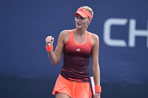 August 31, 2015 - Kristina Mladenovic in action against Svetlana Kuznetsova (not pictured) in a women's singles first round match during the 2015 US Open at the USTA Billie Jean King National Tennis Center in Flushing, NY. (USTA/Steven Ryan)
