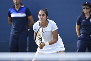August 31, 2015 - Zarina Diyas in action in a women's singles first round match against Polona Hercog during the 2015 US Open at the USTA Billie Jean King National Tennis Center in Flushing, NY. (USTA/Steven Ryan)