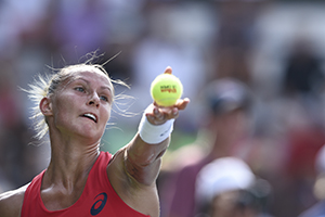 August 31, 2015 - Polona Hercog in action in a women's singles first round match against Zarina Diyas during the 2015 US Open at the USTA Billie Jean King National Tennis Center in Flushing, NY. (USTA/Steven Ryan)