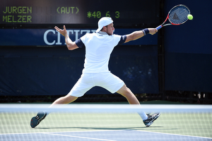 September 1, 2015 - Denis Kudla in action against Jurgen Melzer (not pictured) in a men's singles first round match during the 2015 US Open at the USTA Billie Jean King National Tennis Center in Flushing, NY. (USTA/Andrew Ong)