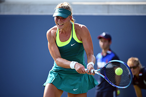September 1, 2015 - Carina Witthoft in action at the women's singles first round match during the 2015 US Open at the USTA Billie Jean King National Tennis Center in Flushing, NY. (USTA/Andrew Ong)
