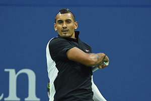 September 1, 2015 - Nick Kyrgios in action in a men's singles first round match during the 2015 US Open at the USTA Billie Jean King National Tennis Center in Flushing, NY. (USTA/Garrett Ellwood)