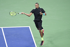 September 1, 2015 - Nick Kyrgios in action in a men's singles first round match during the 2015 US Open at the USTA Billie Jean King National Tennis Center in Flushing, NY. (USTA/Pete Staples)