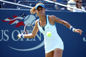 September 1, 2015 - Lesia Tsurenko in action against Lucie Safarova (not pictured) in a women's singles first round match during the 2015 US Open at the USTA Billie Jean King National Tennis Center in Flushing, NY. (USTA/Ned Dishman)