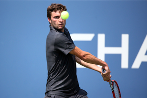 September 1, 2015 - Gilles Simon in action against Donald Young (not pictured) in a men's singles first round match during the 2015 US Open at the USTA Billie Jean King National Tennis Center in Flushing, NY. (USTA/Ned Dishman)