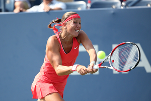 September 1, 2015 - Lucie Hradecka in action against Victoria Azarenka (not pictured) in a women's singles first round match during the 2015 US Open at the USTA Billie Jean King National Tennis Center in Flushing, NY. (USTA/Ned Dishman)