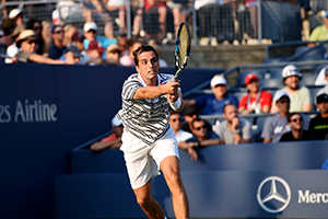 September 1, 2015 - Albert Ramos-Vinolas in action in a Men's Singles - Round 1 match during the 2015 US Open at the USTA Billie Jean King National Tennis Center in Flushing, NY. (USTA/Pete Staples)