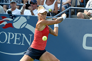 September 2, 2015 - Polona Hercog in action in a women's singles second round match during the 2015 US Open at the USTA Billie Jean King National Tennis Center in Flushing, NY. (USTA/Garrett Ellwood)
