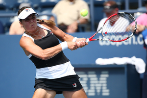 September 2, 2015 - Anna Tatishvili in action against Madison Brengle (not pictured) in a women's singles second round match during the 2015 US Open at the USTA Billie Jean King National Tennis Center in Flushing, NY. (USTA/Ned Dishman)