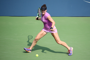 September 2, 2015 - Madison Brengle in action against Anna Tatishvili (not pictured) in a women's singles second round match during the 2015 US Open at the USTA Billie Jean King National Tennis Center in Flushing, NY. (USTA/Ned Dishman)