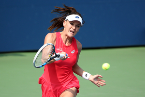 September 2, 2015 - Agnieszka Radwanska in action against Magda Linette (not pictured) in a women's singles second round match during the 2015 US Open at the USTA Billie Jean King National Tennis Center in Flushing, NY. (USTA/Ned Dishman)