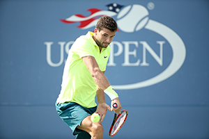 September 2, 2015 - Grigor Dimitrov in action the men's singles second round match during the 2015 US Open at the USTA Billie Jean King National Tennis Center in Flushing, NY. (USTA/Ned Dishman)