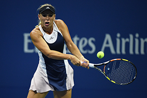 September 3, 2015 - Caroline Wozniacki in action in a women's singles second-round match against Petra Cetkovska during the 2015 US Open at the USTA Billie Jean King National Tennis Center in Flushing, NY. (USTA/Andrew Ong)