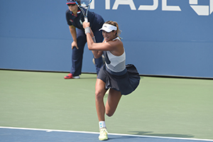 September 3, 2015 - Garbine Muguruza in action during a women's singles second round match at the 2015 US Open at the USTA Billie Jean King National Tennis Center in Flushing, NY. (USTA/Garrett Ellwood)
