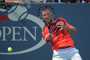September 3, 2015 - Jack Sock in action in a men's singles second round match against Ruben Bemelmans during the 2015 US Open at the USTA Billie Jean King National Tennis Center in Flushing, NY. (USTA/Pete Staples)