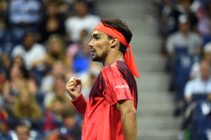September 4, 2015 - Fabio Fognini reacts against Rafael Nadal (not pictured) in a men's singles third-round match during the 2015 US Open at the USTA Billie Jean King National Tennis Center in Flushing, NY. (USTA/Andrew Ong)