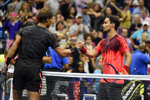 September 4, 2015 - Rafael Nadal shakes hands with Fabio Fognini after a men's singles third-round match during the 2015 US Open at the USTA Billie Jean King National Tennis Center in Flushing, NY. (USTA/Andrew Ong)