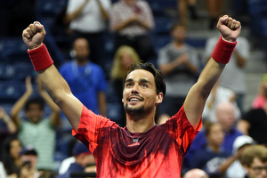 September 4, 2015 - Fabio Fognini reacts after defeating Rafael Nadal (not pictured) in a men's singles third-round match during the 2015 US Open at the USTA Billie Jean King National Tennis Center in Flushing, NY. (USTA/Andrew Ong)