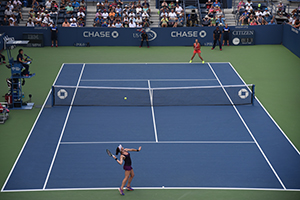 September 4, 2015 - Madison Brengle, bottom, in action in a women's singles third round match against Anett Kontaveit during the 2015 US Open at the USTA Billie Jean King National Tennis Center in Flushing, NY. (USTA/Brian Friedman)