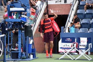 September 4, 2015 - Milos Raonic is introduced against Feliciano Lopez (not pictured) in a men's singles third-round match during the 2015 US Open at the USTA Billie Jean King National Tennis Center in Flushing, NY. (USTA/Brian Friedman)