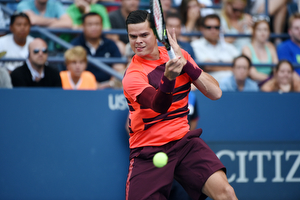 September 4, 2015 - Milos Raonic in action against Feliciano Lopez (not pictured) in a men's singles third-round match during the 2015 US Open at the USTA Billie Jean King National Tennis Center in Flushing, NY. (USTA/Brian Friedman)