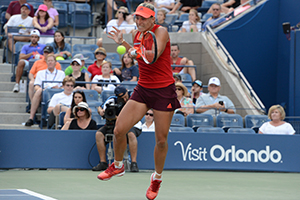 September 5, 2015 - Angelique Kerber in action in a women's singles third-round match against Victoria Azarenka during the 2015 US Open at the USTA Billie Jean King National Tennis Center in Flushing, NY. (USTA/Garrett Ellwood)