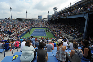 September 4, 2015 - A general view of Grandstand during a men's singles third-round match between Sergiy Stakhovsky and Jo-Wilfried Tsonga during the 2015 US Open at the USTA Billie Jean King National Tennis Center in Flushing, NY. (USTA/Garrett Ellwood)