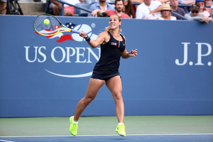 September 4, 2015 - Dominika Cibulkova in action against Eugenie Bouchard (not pictured) in a women's singles third-round match during the 2015 US Open at the USTA Billie Jean King National Tennis Center in Flushing, NY. (USTA/Ned Dishman)