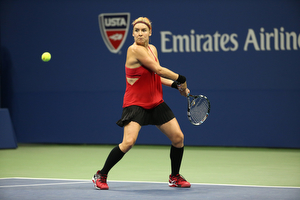 September 4, 2015 - Bethanie Mattek-Sands in action against Serena Williams (not pictured) in a women's singles third-round match during the 2015 US Open at the USTA Billie Jean King National Tennis Center in Flushing, NY. (USTA/Ned Dishman)