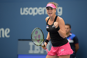 September 4, 2015 - Belinda Bencic in action in a women's singles third-round match against Venus Williams during the 2015 US Open at the USTA Billie Jean King National Tennis Center in Flushing, NY. (USTA/Pete Staples)