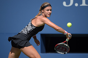 September 5, 2015 - Anna Karolina Schmiedlova in action in a women's singles third-round match against Petra Kvitova during the 2015 US Open at the USTA Billie Jean King National Tennis Center in Flushing, NY. (USTA/Pete Staples)