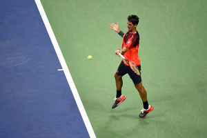 September 5, 2015 - Thomaz Bellucci in action against Andy Murray (not pictured) in a men's singles third-round match mduring the 2015 US Open at the USTA Billie Jean King National Tennis Center in Flushing, NY. (USTA/Andrew Ong)