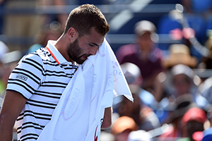 September 6, 2015 - Benoit Paire in action in a men's singles fourth-round match against Jo-Wilfried Tsonga during the 2015 US Open at the USTA Billie Jean King National Tennis Center in Flushing, NY. (USTA/Andrew Ong)