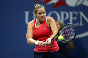 September 5, 2015 - Shelby Rogers in action in a women's singles third-round match against Simona Halep during the 2015 US Open at the USTA Billie Jean King National Tennis Center in Flushing, NY. (USTA/Andrew Ong)